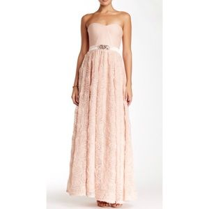 Adrianna Papell - Strapless Lace Dress - Blush